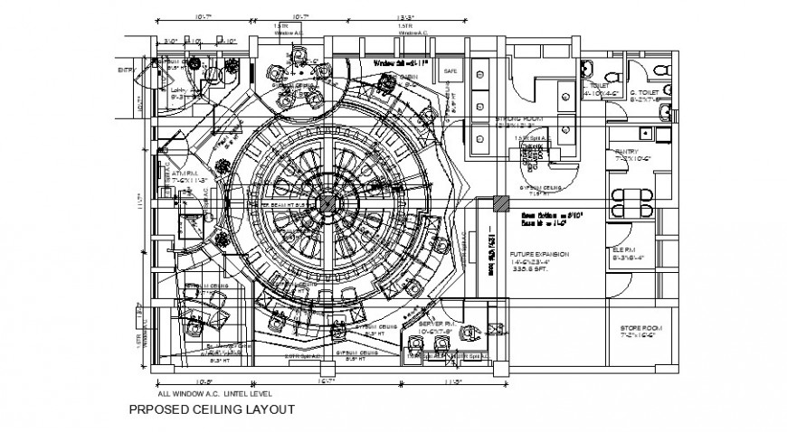 Proposed ceiling layout plan details for office building floor dwg file