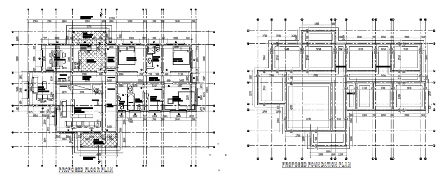 Proposed floor plan and foundation plan of a apartment dwg file