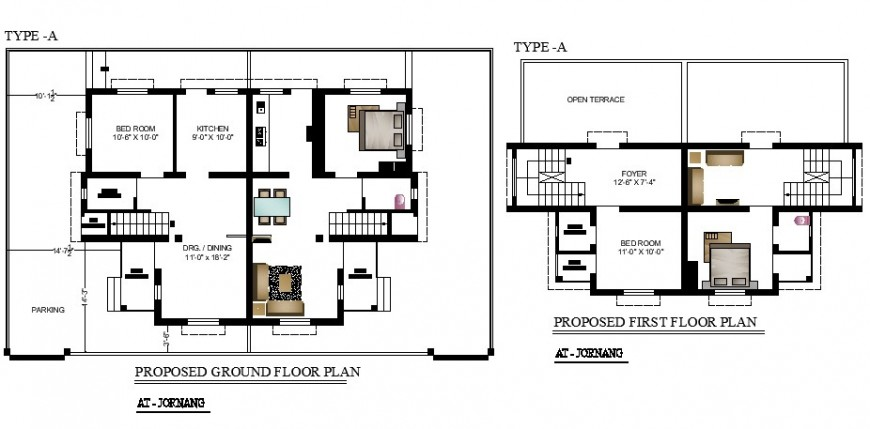 Proposed ground and first floor plan details of one family house dwg file