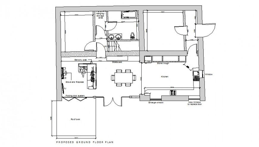 Proposed ground floor layout plan details of house dwg file