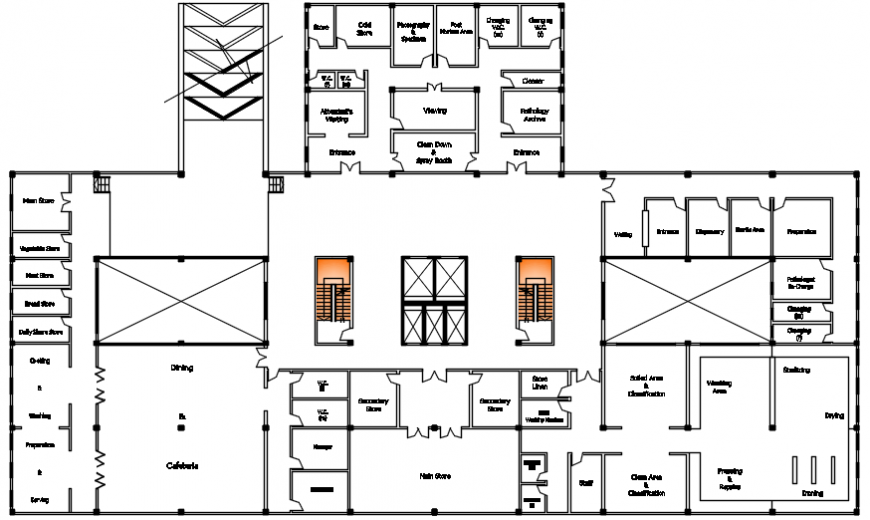 Proposed hospital building top view layout structure