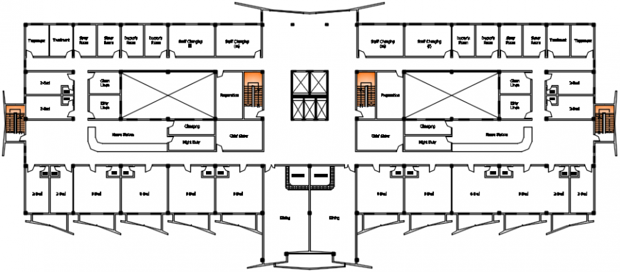 Proposed hospital building top view plan model files
