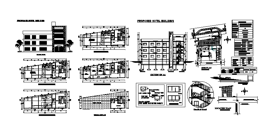 proposed hotel building elevation, section, floor plan, staircase section and auto-cad details dwg file