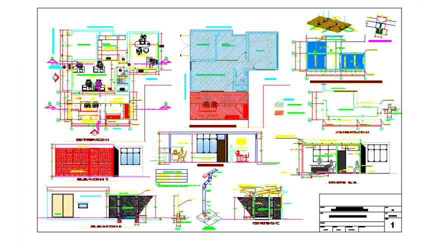Proposed layout and detail of environment office management design drawing