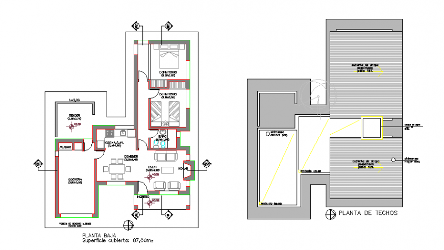 Proposed Layout plan of cottage design drawing