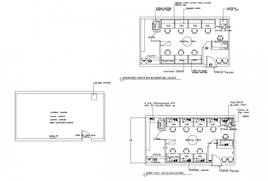 Proposed partition and furniture layout drawing details of airport office dwg file