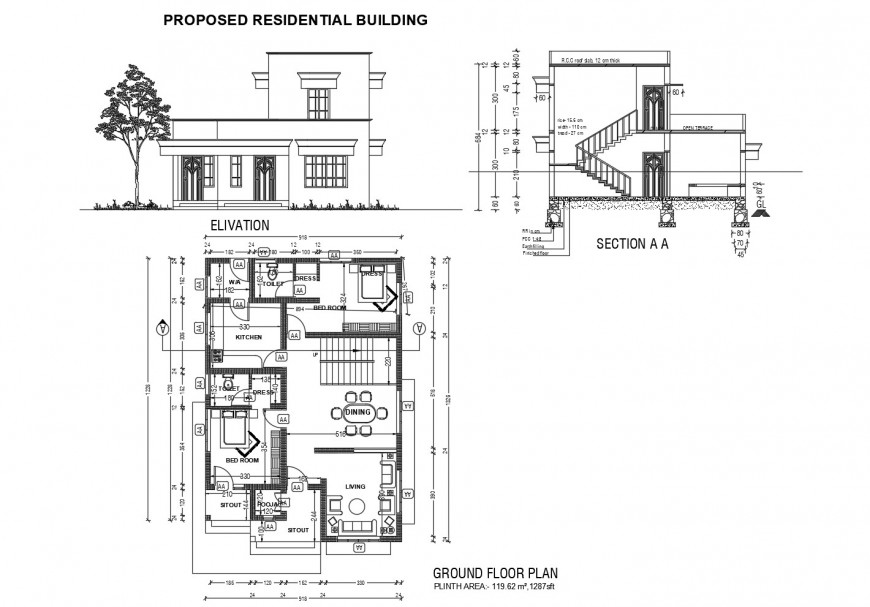 Proposed residential house elevation, section and plan cad drawing details dwg file