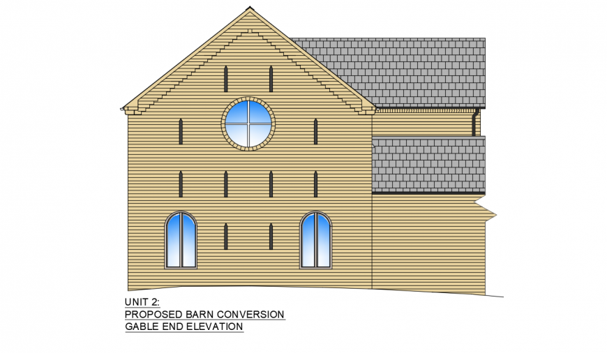Proposed roof house back elevation 3d model drawing details dwg file