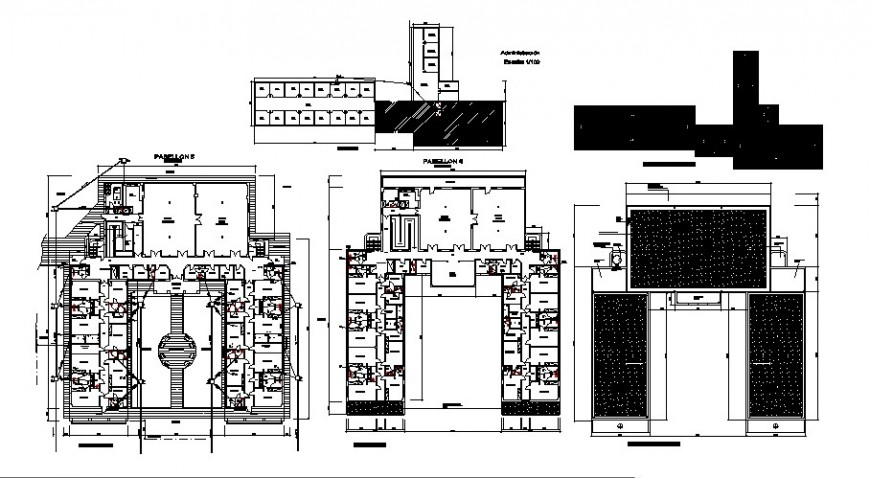 Psychiatric clinic section and floor plan distribution cad drawing details dwg file