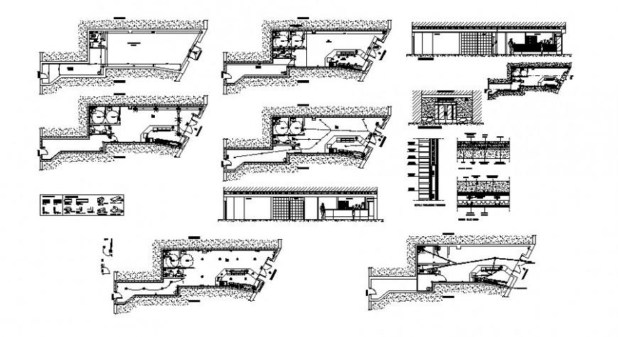 Pub-cocktail lounge restaurant elevation, section and plan details dwg file
