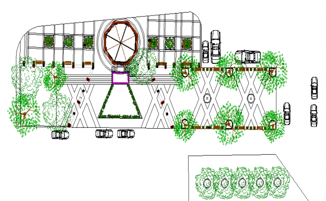 public park landscaping details dwg file