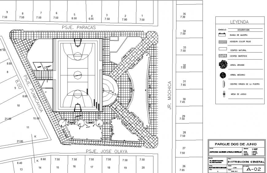 Public garden plan detail drawing in dwg file.
