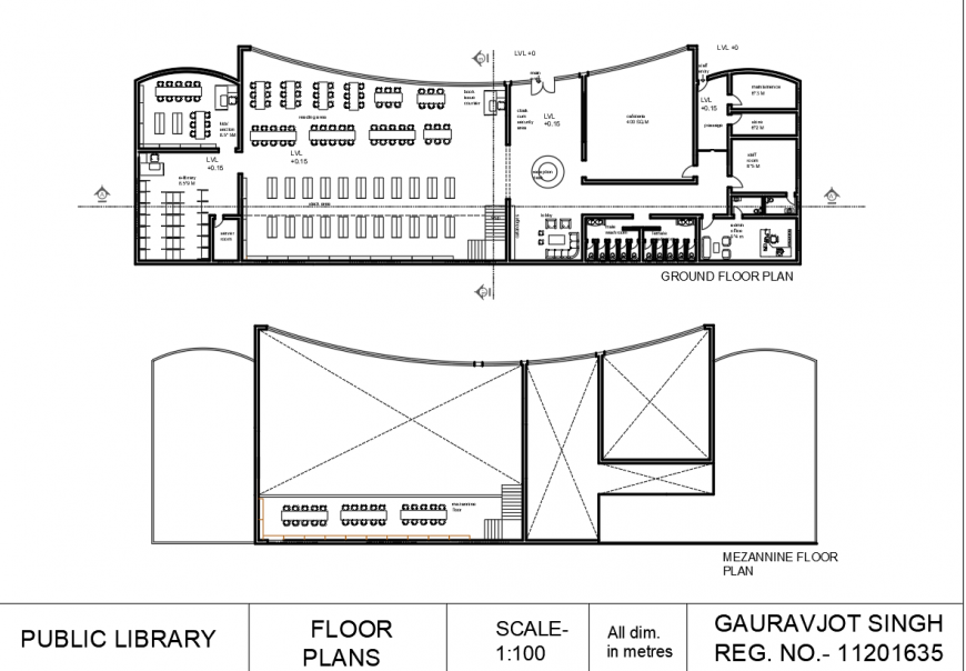 Public library floor plan drawing in dwg AutoCAD file.