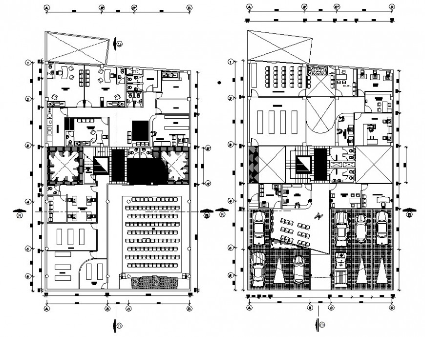 Public ministry office project layout plan cad file