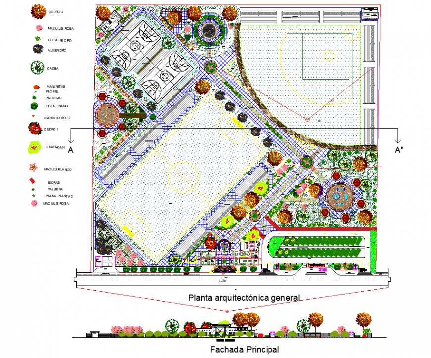Public park detail drawing in dwg file.