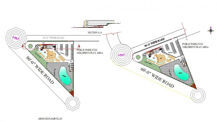 Public park detail plan and section 2d view CAD block layout autocad file