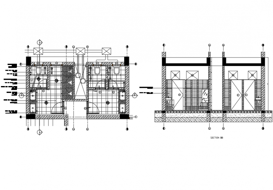 Public toilet section and plan cad drawing details dwg file