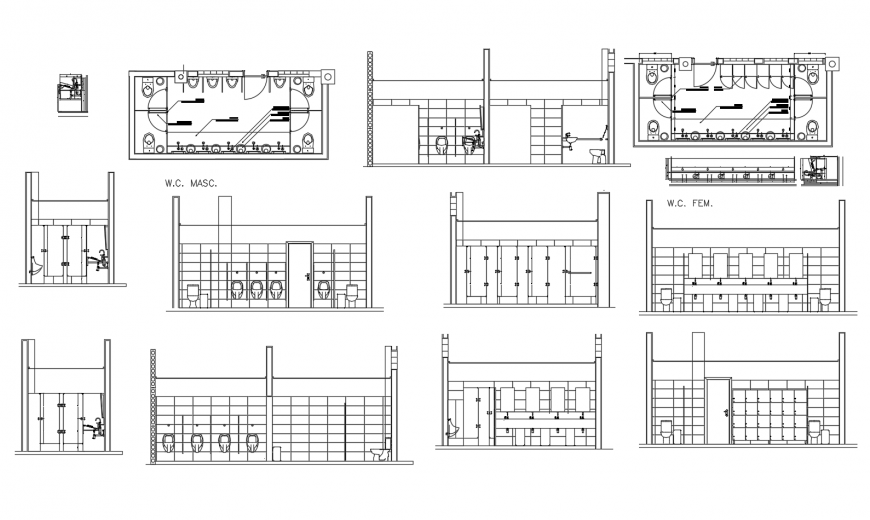 Public toilets all sided section, plan and installation drawing details dwg file