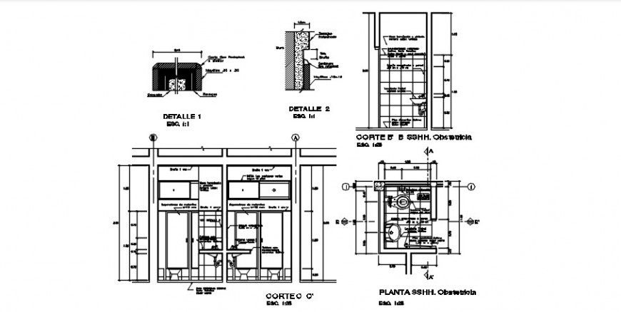 public toilets section, plan and sanitary installation drawing details dwg file