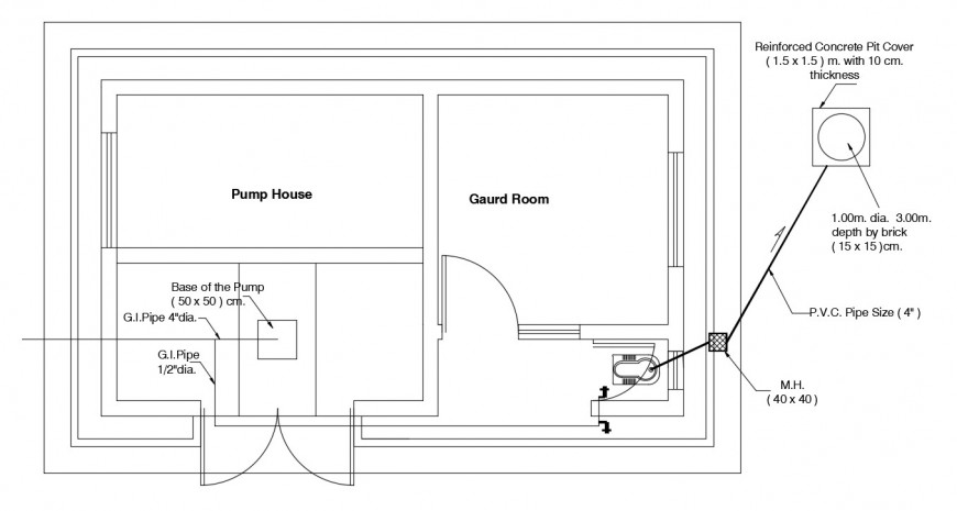 Pumphouse 2d view layout plan dwg autocad file