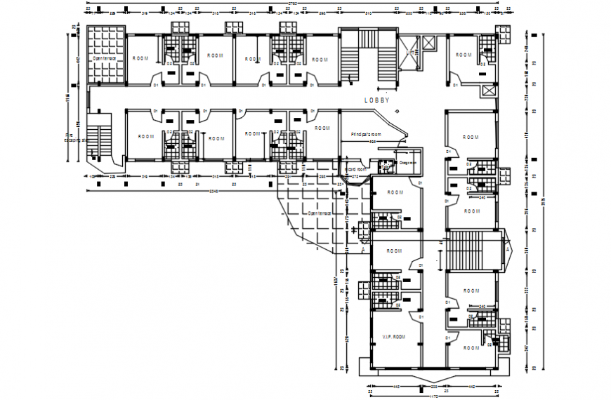 Purpose floor layout plan of hospital project autocad file