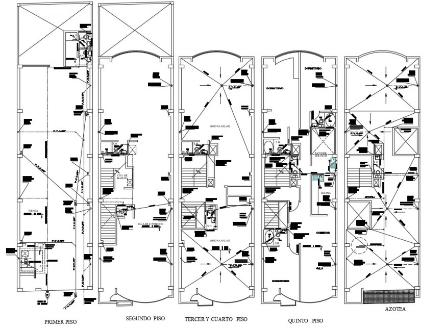 PVC water single line view of apartment floor plan in auto cad