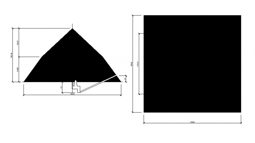 Pyramid detail elevation and plan drawing in autocad
