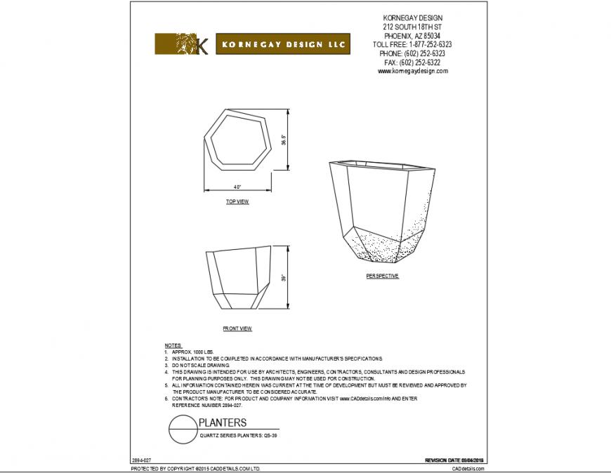 Quartz series garden planters cad block details dwg file
