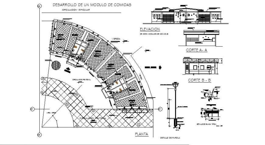 Quick meal food store elevation, section, plan and auto-cad drawing details dwg file