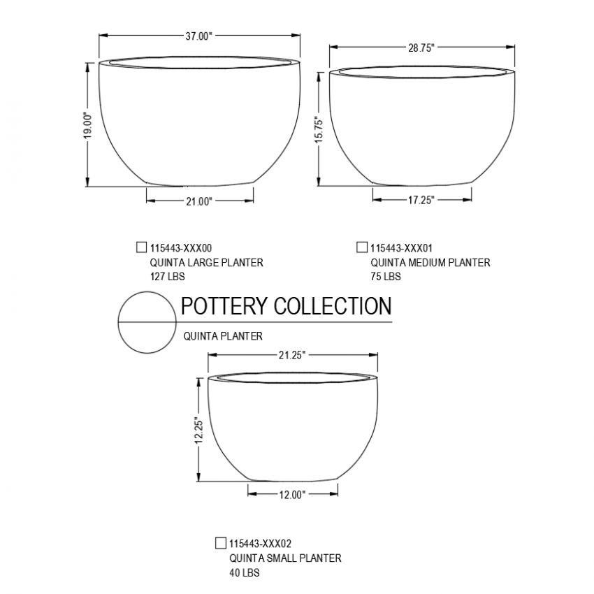 Quints pottery isometric with different size design view dwg file