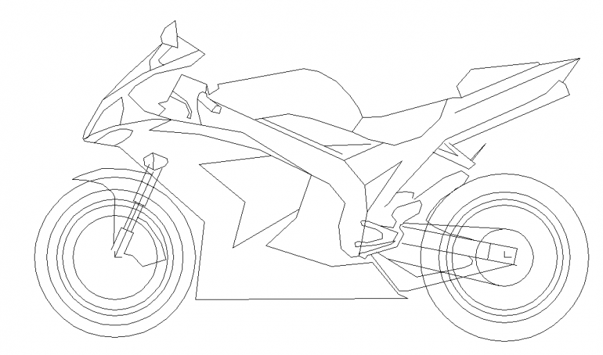 Racer Bike Side View Design in Autocad File
