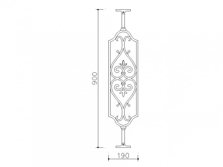 Railing design block auto-cad block dwg file
