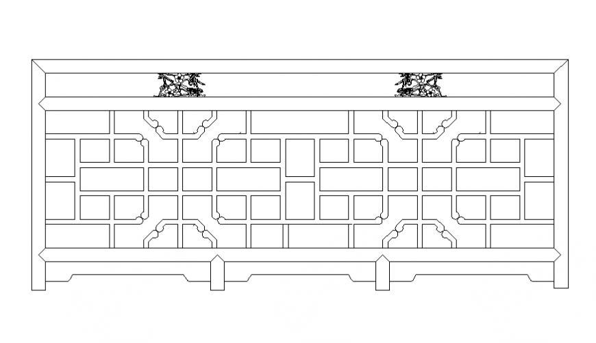 Railing front view cad block details dwg file