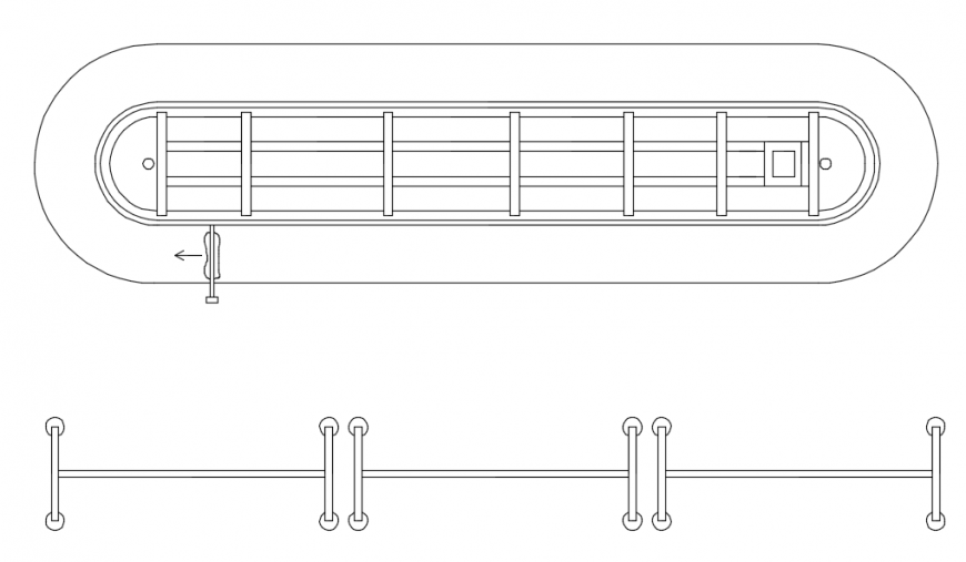 Railing top view plan and front model elevation detail dwg file