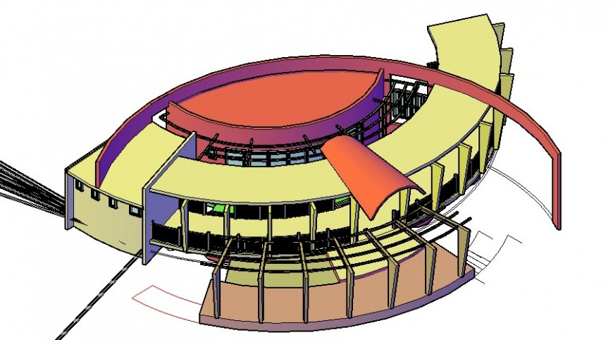 Railway station view in auto cad file