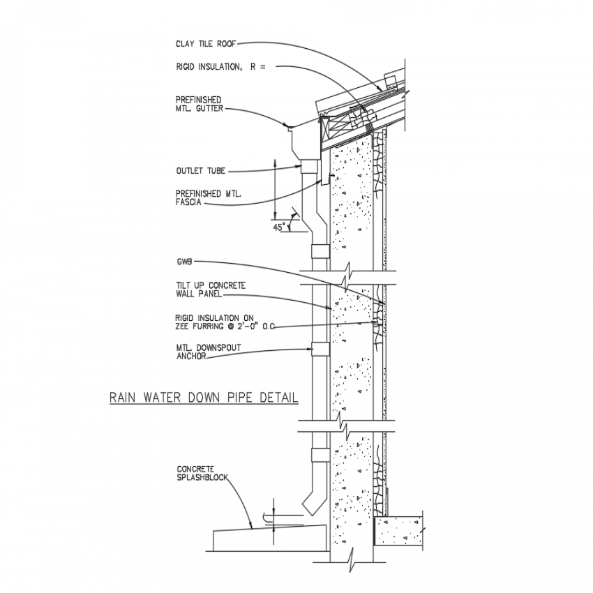 Rain water down pipe elevation view dwg file