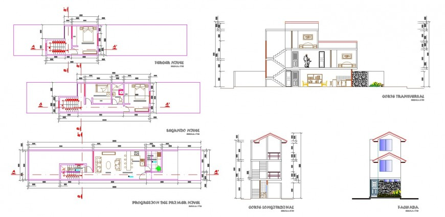 Raw house working drawing in dwg file.
