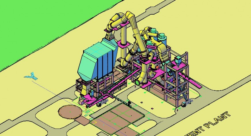 Raw mill and electrostatic Precipitation 3d processing plant drawing details dwg file