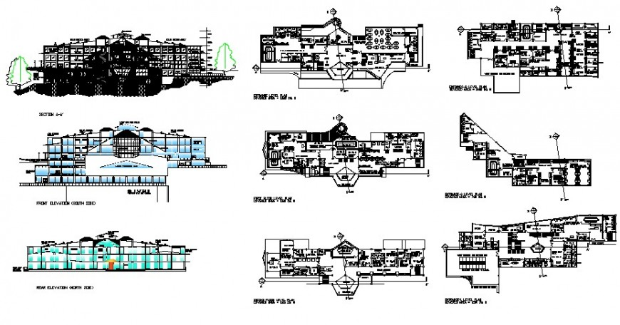 Re-creation center building elevation, section and floor plan cad drawing details dwg file