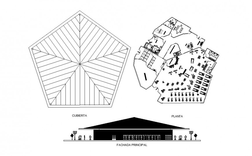 Re-creation center main elevation and plan cad drawing details dwg file