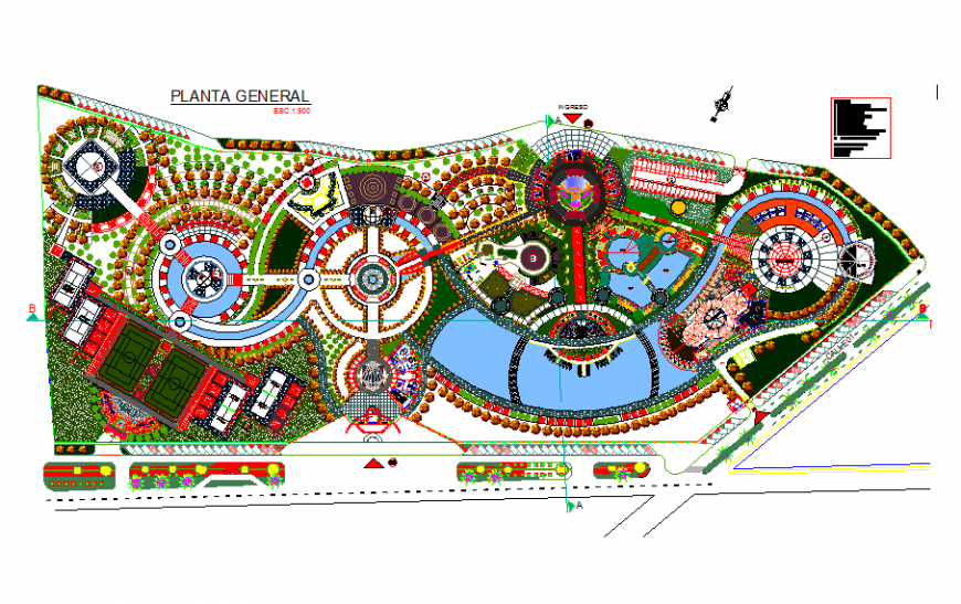 Re-recreational park center structural layout plan and landscaping structure details dwg file