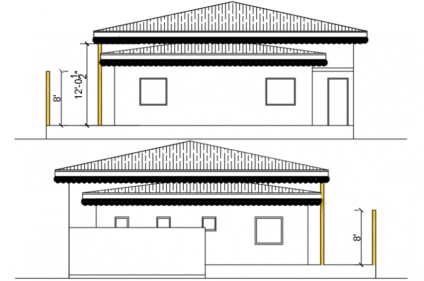 Rear and back side elevation drawing details of house dwg file