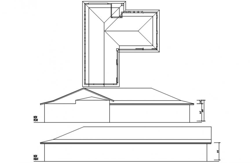 Rear and right side elevation of house with roof structure cad drawing details dwg file