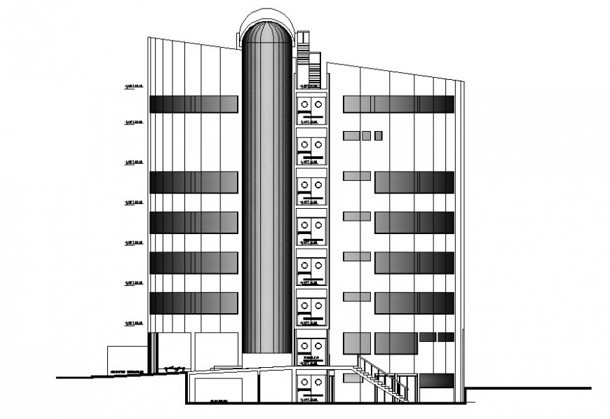 Rear side elevation of hospital in auto cad