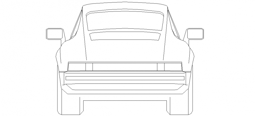 Rear view of car design with block dwg file