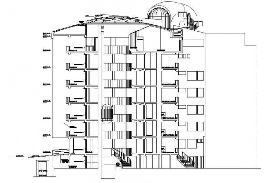 Rear view of hospital design with elevator in auto cad
