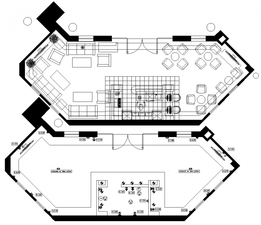 Reception area layout plan drawing in dwg AutoCAD file.