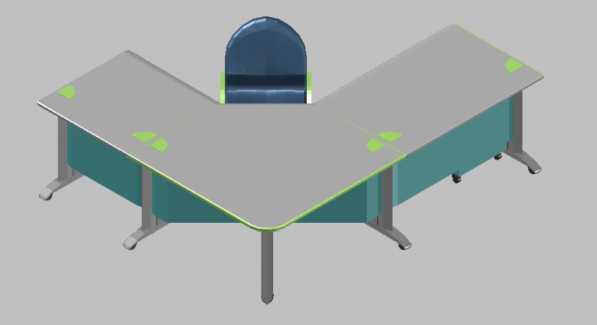 Reception corner table with chair design in 3d dwg file