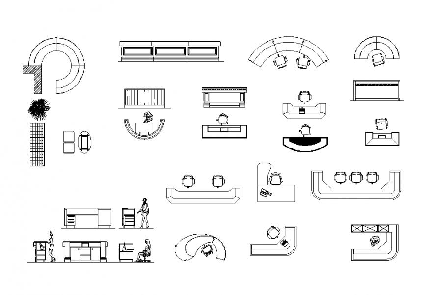 Reception desks detail elevation 2d view CAD furniture layout file