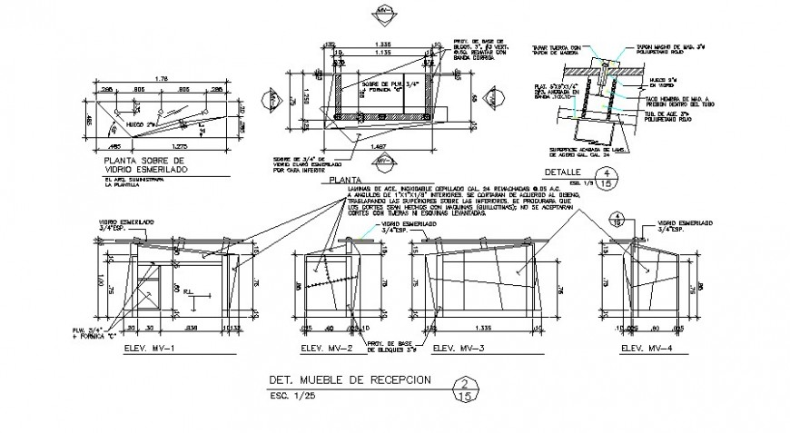Reception table and furniture carpentry cad drawing details dwg file